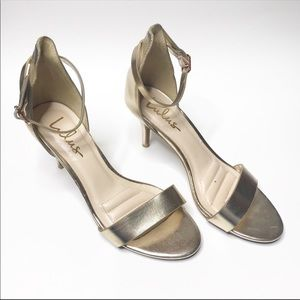 Lulus Gold Ankle Strap Heels Size 8